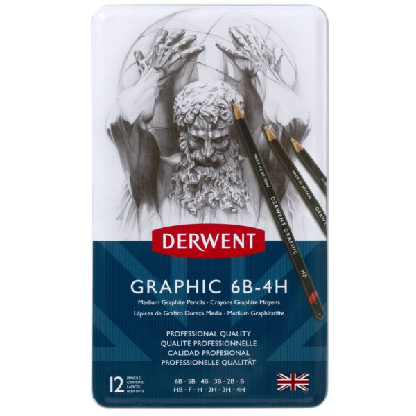 Derwent Graphic - SET 12 grafietpotloden MEDIUM 6B-4H